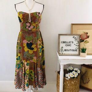 Nanette Lepore Strapless Silk Butterfly Dress Sz 6